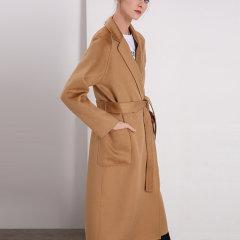 GeleiStory/GeleiStory向往系列新款水波纹双面羊绒女士大衣加长款系带收腰羊毛呢子外套图片
