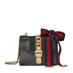 【包邮包税】Gucci 古驰 Sylvie系列 女士白色牛皮锁扣迷你链条包单肩斜挎包图片