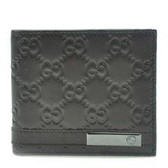 【包税】GUCCI/古驰 黑色 男士黑色牛皮双G logo银色标志压花钱包钱夹图片