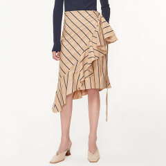 MO&Co.edition/MO&Co.edition条纹半身裙女2020新款春款高腰不规则荷叶边a字裙moco女士半身裙图片