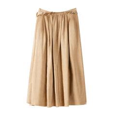 EXCEPTION/例外 原创设计冷染打褶秋冬中长款深卡其A字裙半身裙女-女士半身裙图片