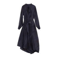 EXCEPTION/例外 原创女装 桑蚕丝A字裙通勤紫色中长款连衣裙-女士连衣裙图片