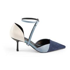 【ONTIME】【20春夏】LABER THREE/LABER THREE 复古拼色跟鞋 高跟鞋图片
