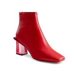透明水晶跟羊皮高跟靴方头方跟时尚女靴短筒女鞋图片