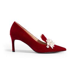 【ONTIME】【20春夏】LABER THREE/LABER THREE  珍珠饰花跟鞋 高跟鞋图片