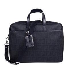 【包邮包税】Fendi/芬迪 男士棕色帆布经典LOGO印花单肩斜挎包手提包公文包图片