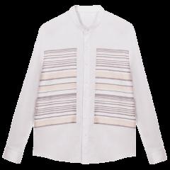 【20春夏新款】BLUE ERDOS/BLUE ERDOS 男装 条纹配布 拼接装饰 男士长袖衬衫图片