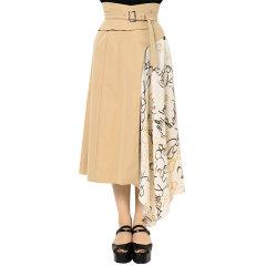 murua/MURUA 女士半身裙 日系女装印花拼接半身裙2020春夏新品不对称高腰中长A字裙 012020800701图片