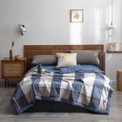 PUMEI/朴寐 全棉夏被 100%棉花填充空调被 色织水洗棉 夏天凉爽薄被子图片