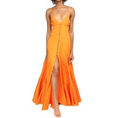 【LVR】 Jacquemus/Jacquemus 20年春夏 女士 纽扣开合长款塔夫绸连衣裙 橙色图片