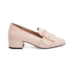 【20春夏新款】BALLY/巴利JANELLE方形搭扣粉色马蹄跟设计女士高跟鞋图片