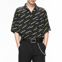 MOCO男装品牌COMMONGENDER/COMMONGENDER2020夏季新品男士印花短袖古巴领男士短袖衬衫潮流衬衣CBO1SHT009图片