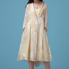 EXCEPTION/例外 原创设计 夏季印花A型飘逸连衣裙V领中袖长裙子女-女士连衣裙图片