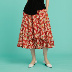 【Designer Women】【20春夏】CHENSHIISTUDIO/CHENSHIISTUDIO 中国红 限定印花 双层蓬蓬A字半身裙 女士半身裙图片