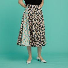 【Designer Women】【20春夏】CHENSHIISTUDIO/CHENSHIISTUDIO 拼接蓝 限定印花 双层蓬蓬A字半身裙 女士半身裙图片