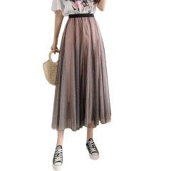 MR.ING/MR.ING女士半身裙新款多层中长款A字裙大摆裙仙女纱裙撞色渐变网纱半身裙图片