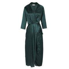 设计师品牌YAWANG CHEN/YAWANG CHEN女装>女士裙装>女士连衣裙墨绿黑色桑蚕丝优雅小礼服图片