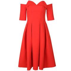 YES BY YESIR/YES BY YESIR叶谦女士礼服设计师原创品牌女士连衣裙一字领高腰A字连衣裙图片