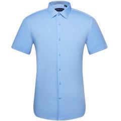 SAINT ANGELO/报喜鸟男装夏季商务正装男士短袖衬衫 修身职业蓝色休闲衬衣图片