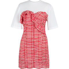 d'zzit/d'zzit地素20夏新款抽皱拼接复古格纹连衣裙 裙装 女士裙装 女装3C2O4023H图片