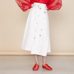 【Designer Women】【20春夏】CHENSHIISTUDIO/CHENSHIISTUDIO 解构拼接A字裙 金属扣装饰 女士半身裙图片