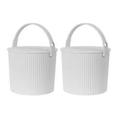 2件套日本进口儿童玩具收纳桶      利快Omnioutil炫彩多功能收纳桶可坐人储物桶凳图片