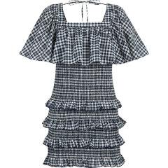 d'zzit/d'zzit地素20夏新款法式方领格纹抽皱连衣裙 裙装 女士裙装 女装3C2O3023H图片