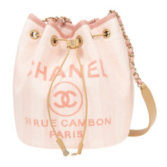 CHANEL/香奈儿 20春夏 女士帆布LOGO印花水桶包单肩包斜挎包图片