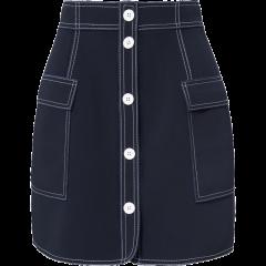 YES BY YESIR/YES BY YESIR叶谦女士夹克设计师原创品牌藏蓝色撞色明线半裙女士半身裙图片