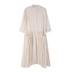 EXCEPTION/例外-七分袖宽松亚麻连衣裙小立领蚕丝裙-女士连衣裙图片