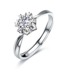 mingzuan/鸣钻国际 雪花 PT950铂金钻戒女钻石戒指求婚结婚戒指图片