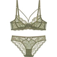 【DesignerWomenwear】Adorre Gaea2020SS夏季性感超薄全蕾丝网纱透明内衣大胸显小文胸套装图片