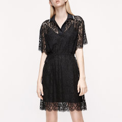 MO&Co./摩安珂女士连衣裙2020夏季新品抽绳收腰Polo领蕾丝连衣裙MBO2DRS045图片