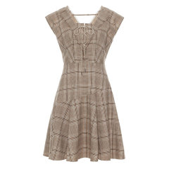 【ONTIME】【20春夏】FLONAKED/FLONAKED 格纹修身荷叶下摆连衣裙 两色 女士连衣裙图片