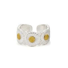 COLIMIDA/口力米大 925纯银小雏菊戒指权志龙向日葵男女情侣对戒单身尾戒一对银指环图片