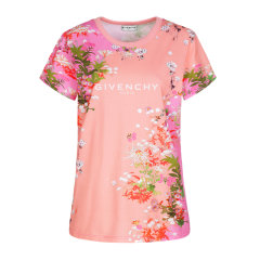Givenchy 纪梵希 20春夏 女装 服饰 圆领粉色棉质花卉印花修身 女士短袖T恤图片