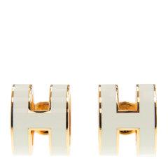 【包邮包税】Hermès 爱马仕 20新品 女士白色H字母耳钉图片