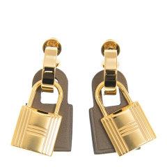 【包邮包税】Hermès 爱马仕 20新品 女士金锁拼皮多色耳钉 OKYER37GP图片