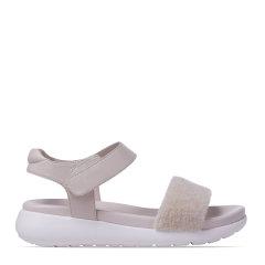 COZY STEPS可至2021夏款真皮凉鞋女平底鞋简约休闲露趾魔术贴凉鞋图片