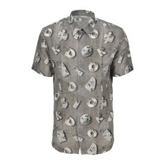DIOR/迪奥 20春夏 男装 服装 灰色翻领logo印花 男士短袖衬衫图片