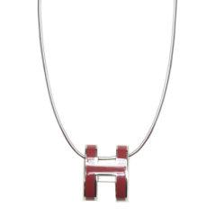 【包邮包税】Hermes/爱马仕 女士H字母logo银色环形项链图片