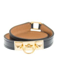 【包邮包税】HERMES 爱马仕 女士皮革金属圆环手带手镯图片
