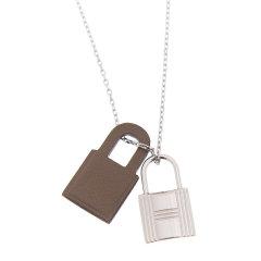 【包邮包税】Hermes/爱马仕 女士银锁配皮吊坠项链图片