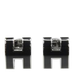 【包邮包税】HERMES 爱马仕 女士金属环形银扣H字母耳环图片
