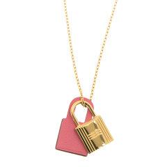 【包邮包税】Hermès 爱马仕 女士金锁拼皮吊坠项链 OKYNECK93GP图片