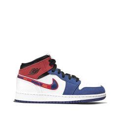 NIKE2020春夏新款 Air Jordan 1 Mid AJ1 白蓝红 拼接篮球鞋852542-146 BQ6931-146图片