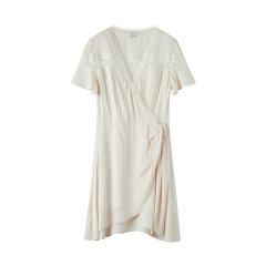 bebe/bebe 【Designer Womenwear】2020夏季新品女士连衣裙V领条纹水溶蕾丝飘带连衣裙 250022图片