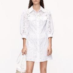 MO&Co./摩安珂女士连衣裙2020夏季新品翻领面布绣花收腰连衣裙MBO2DRS004图片