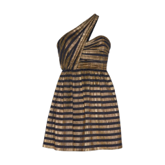 SAINT LAURENT 20春夏女士金银线条纹不对称真丝连衣裙连衣裙 576255Y004V1055 一周左右发货图片