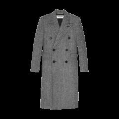 SAINT LAURENT 20春夏女士Double-breasted long coat in herringbone wool大衣 588359Y943J1070 一周左右发货图片